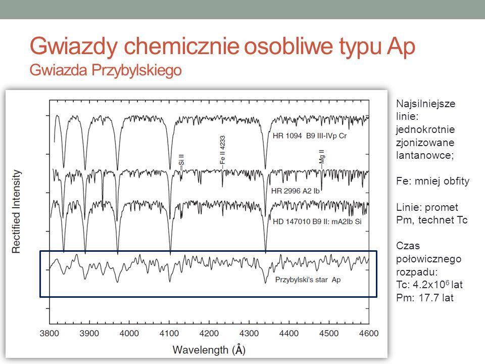 Gwiazdy chemicznie osobliwe typu Ap Gwiazda Przybylskiego Najsilniejsze linie: jednokrotnie zjonizowane lantanowce; Fe: mniej obfity Linie: promet Pm,