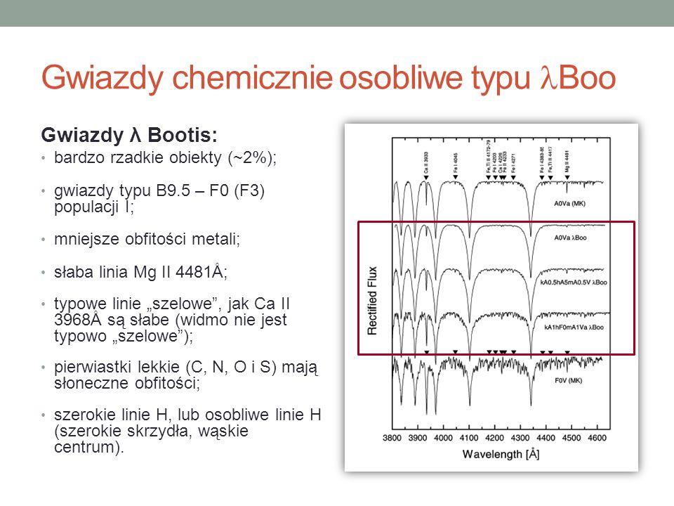 Gwiazdy λ Bootis: bardzo rzadkie obiekty (~2%); gwiazdy typu B9.5 – F0 (F3) populacji I; mniejsze obfitości metali; słaba linia Mg II 4481Å; typowe li