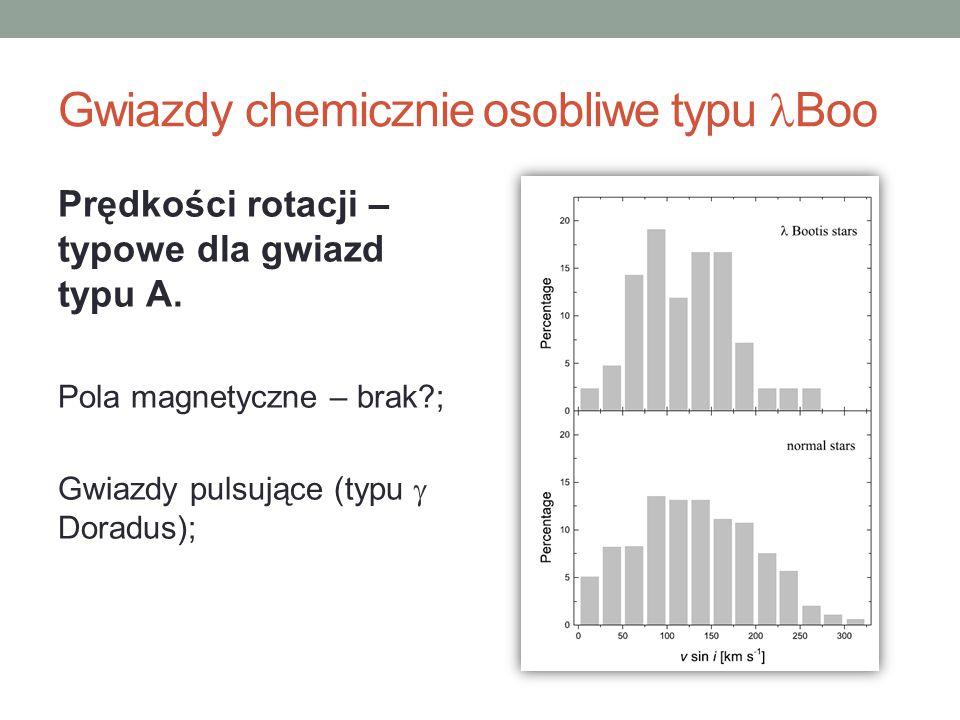 Gwiazdy chemicznie osobliwe typu Boo Prędkości rotacji – typowe dla gwiazd typu A. Pola magnetyczne – brak?; Gwiazdy pulsujące (typu  Doradus);