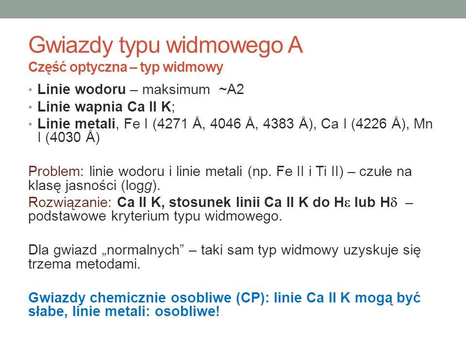 Linie wodoru – maksimum ~A2 Linie wapnia Ca II K; Linie metali, Fe I (4271 Å, 4046 Å, 4383 Å), Ca I (4226 Å), Mn I (4030 Å) Problem: linie wodoru i li