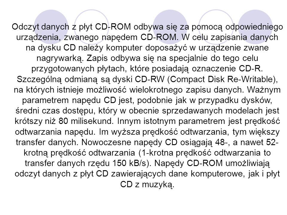 Odczyt danych z płyt CD-ROM odbywa się za pomocą odpowiedniego urządzenia, zwanego napędem CD-ROM. W celu zapisania danych na dysku CD należy komputer