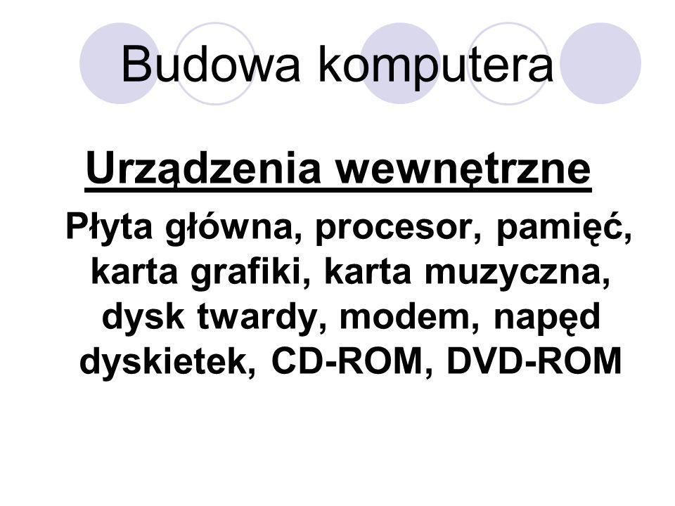 Budowa komputera Urządzenia wewnętrzne Płyta główna, procesor, pamięć, karta grafiki, karta muzyczna, dysk twardy, modem, napęd dyskietek, CD-ROM, DVD