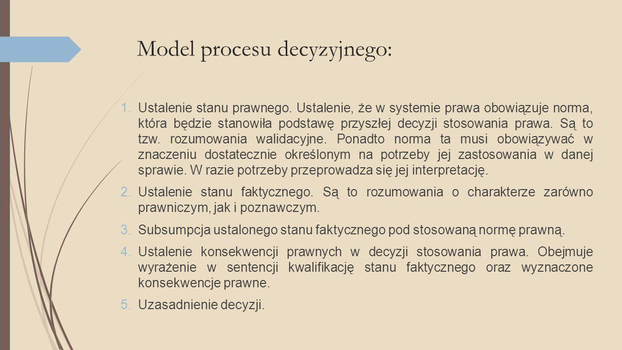 Model procesu decyzyjnego: 1.Ustalenie stanu prawnego. Ustalenie, że w systemie prawa obowiązuje norma, która będzie stanowiła podstawę przyszłej decy