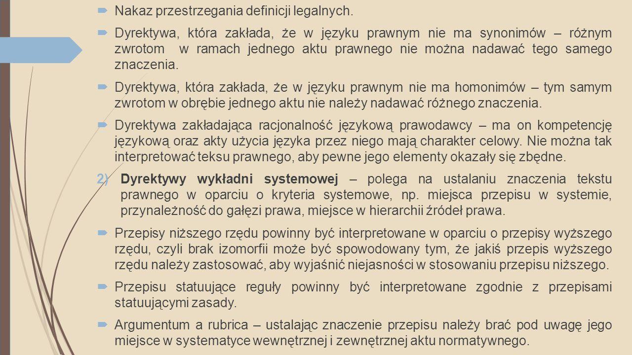  Nakaz przestrzegania definicji legalnych.  Dyrektywa, która zakłada, że w języku prawnym nie ma synonimów – różnym zwrotom w ramach jednego aktu pr