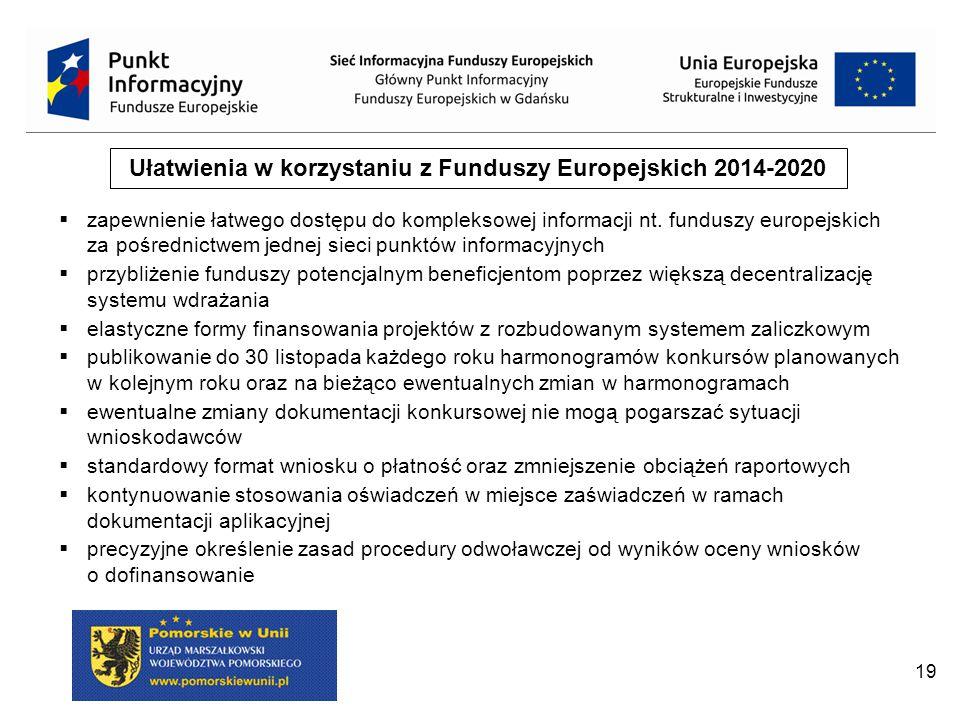 19 Ułatwienia w korzystaniu z Funduszy Europejskich 2014-2020  zapewnienie łatwego dostępu do kompleksowej informacji nt.