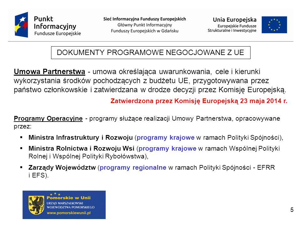 5 DOKUMENTY PROGRAMOWE NEGOCJOWANE Z UE Umowa Partnerstwa - umowa określająca uwarunkowania, cele i kierunki wykorzystania środków pochodzących z budżetu UE, przygotowywana przez państwo członkowskie i zatwierdzana w drodze decyzji przez Komisję Europejską.