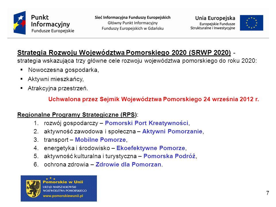 7 Strategia Rozwoju Województwa Pomorskiego 2020 (SRWP 2020) - strategia wskazująca trzy główne cele rozwoju województwa pomorskiego do roku 2020:  Nowoczesna gospodarka,  Aktywni mieszkańcy,  Atrakcyjna przestrzeń.