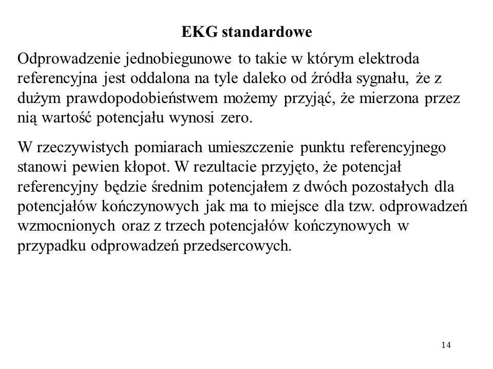 15 Odprowadzenia wg propozycji Einthovena sprowadzają się do umieszczenia elektrod na trzech kończynach (lewa noga i obie ręce).