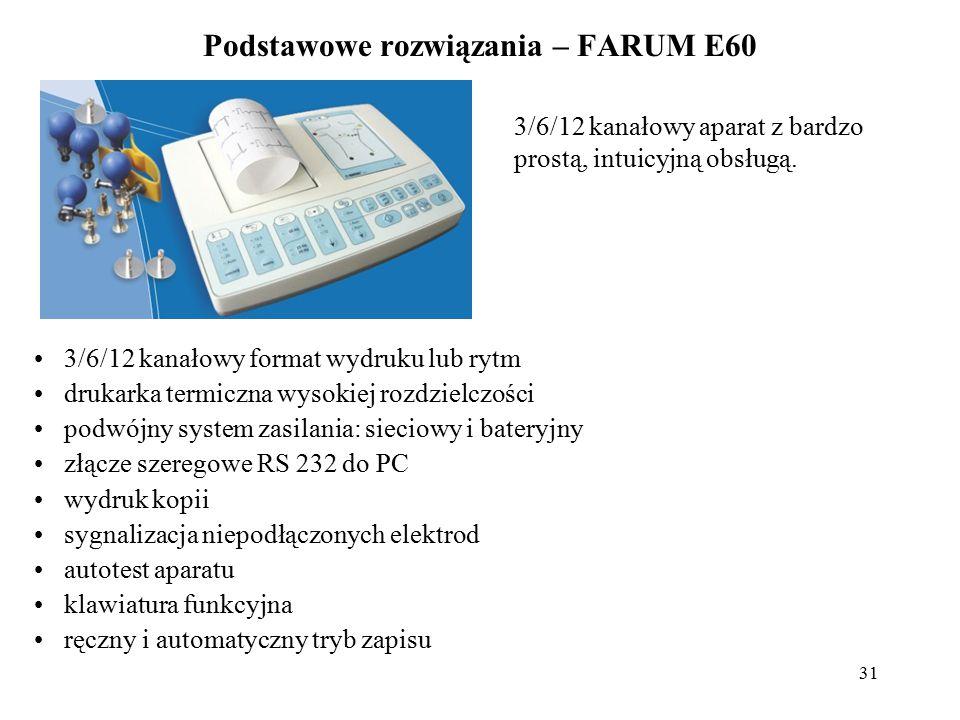 32 Podstawowe rozwiązania – FARUM E60 program pomiaru parametrów EKG (analiza) program analizy rytmu łatwe przystosowanie do nowych potrzeb użytkownika filtr sieciowy, mięśniowy i antydryftowy linii izoelektrycznej papier: szerokość 110mm-112mm szybkość przesuwu papieru: 12,5;25;50 mm/s czułość zapisywania: 5;10;20 mm/mV i AUTO Opcje produktu: program E 600 WIN do współpracy aparatu EKG z komputerem PC archiwizacja badań obserwacja sygnałów EKG w czasie rzeczywistym na monitorze komputera możliwość wydruku przebiegów na drukarce komputera