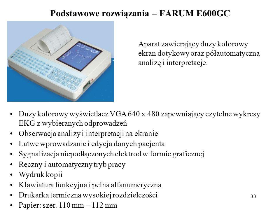 34 Podstawowe rozwiązania – FARUM E600GC Wybór formatu wydruku Podwójny system zasilania: sieciowy i bateryjny Wbudowany zasilacz impusowy 90-240V USB Rozpoznawanie rozrusznika serca Kalendarz graficzny Autotest aparatu Filtry: sieciowy 50Hz, mięśniowy 25,35Hz oraz antydryftowy linii izoelektrycznej Szybkość przesuwu papieru: 5; 10; 12,5; 25; 50 mm/s Czułość zapisywania: 2.5; 5; 10; 20 mm/mV i AUTO Archiwum badań Program pomiaru parametrów EKG (analiza) Interpretacja Program analizy rytmu Częstotliwość próbkowania: 800 Hz Przetwornik A/C: 14bit CMRR: >100dB