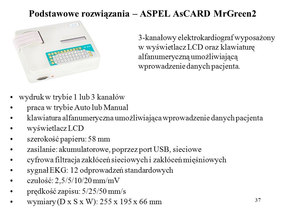 38 Podstawowe rozwiązania – ASPEL AsCARD Red3 innowacyjne rozwiązanie techniczne zapewniające najwyższą jakość i dokładność badań.