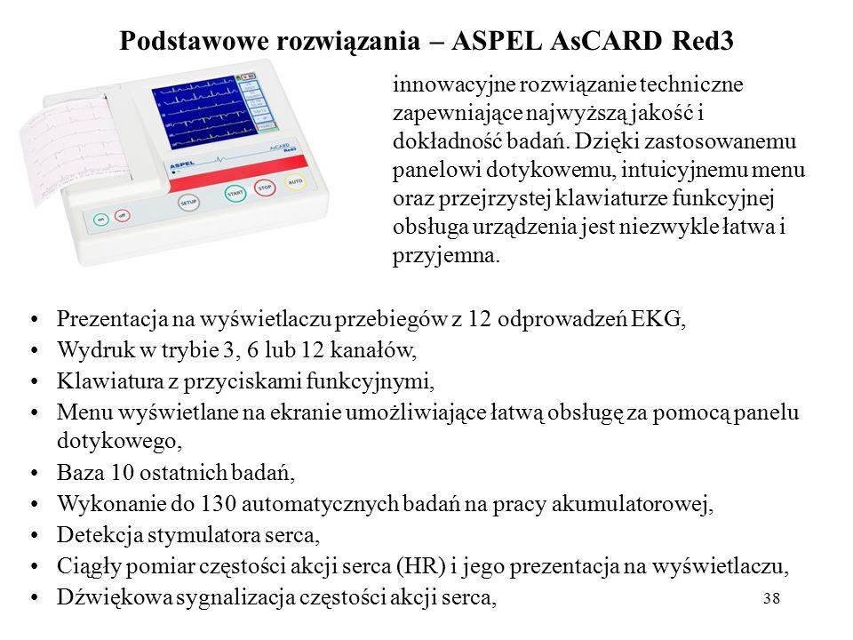 39 Podstawowe rozwiązania – ASPEL AsCARD Red3 Aparat przystosowany do bezpośredniej pracy na otwartym sercu, Filtr zakłóceń sieciowych: 50Hz/60Hz, Filtr zakłóceń mięśniowych; do wyboru filtry: 25 Hz, 35 Hz, 45 Hz, Filtr izolinii; do wyboru filtry: 0,15Hz, 0,45Hz, 0,75Hz, 1,5Hz, Detekcja odpięcia elektrody niezależna dla każdego kanału, Ustawianie dokładności wydruku (grubości linii drukowanych krzywych), Interfejs USB do komunikacji z pamięciami typu PenDrive, umożliwiający bezpośrednio z aparatu zapis badań na nośniku typu PenDrive w standardzie CardioTEKA i późniejszą jego automatyczną analizę i interpretację w oprogramowaniu CardioTEKA, Przeglądanie na wyświetlaczu zapisanych w pamięci opisów badań, z możliwością edycji danych komentujących badanie, wymiary (D x S x W): 258x199x50 mm, waga < 1,3 kg.
