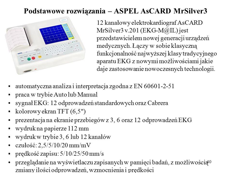 41 Podstawowe rozwiązania – ASPEL AsCARD MrSilver3 prezentacja na wyświetlaczu wyników analizy i interpretacji detekcja stymulatora serca ciągły pomiar częstości akcji serca (HR) i jego prezentacja na wyświetlaczu dźwiękowa sygnalizacja wykrytych pobudzeń cyfrowa filtracja zakłóceń sieciowych i zakłóceń pochodzenia mięśniowego cyfrowy filtr pływania izolinii interfejs komunikacyjny: 3 x port USB (równoczesna komunikacja z PC, drukarką zewnętrzną, pamięcią USB - PenDrive) zasilanie sieciowo-akumulatorowe zasilanie sieciowe w najwyższej klasie bezpieczeństwa sygnalizacja stanu naładowania akumulatora menu wyświetlane na ekranie możliwość konfiguracji wyglądu i kompozycji ekranu możliwość konfiguracji ustawień aparatu oraz panelu sterowania współpraca z oprogramowaniem służącym do zarządzania badaniami EKG - CardioTEKA wymiary (D x S x W): 310x230x66mm waga < 2,1 kg