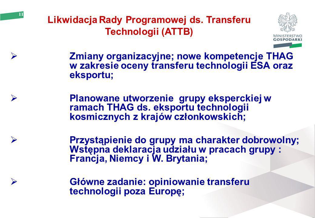 11 Likwidacja Rady Programowej ds. Transferu Technologii (ATTB)  Zmiany organizacyjne; nowe kompetencje THAG w zakresie oceny transferu technologii E