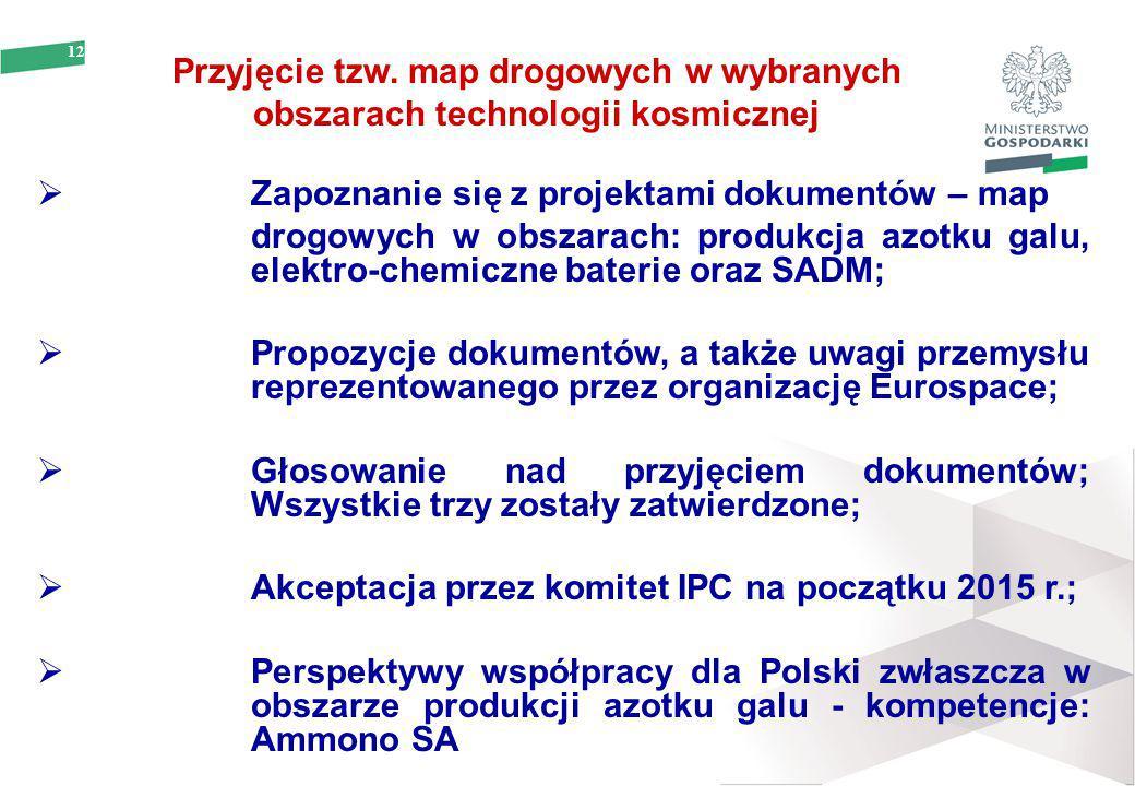 12 Przyjęcie tzw. map drogowych w wybranych obszarach technologii kosmicznej  Zapoznanie się z projektami dokumentów – map drogowych w obszarach: pro