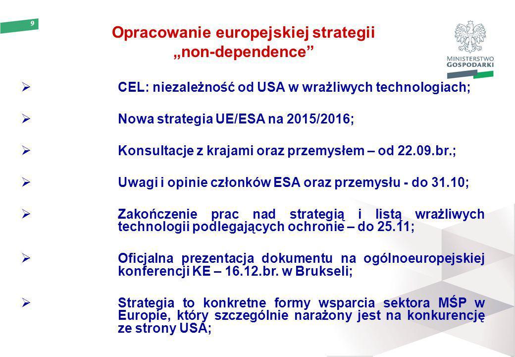 """9 Opracowanie europejskiej strategii """"non-dependence""""  CEL: niezależność od USA w wrażliwych technologiach;  Nowa strategia UE/ESA na 2015/2016;  K"""