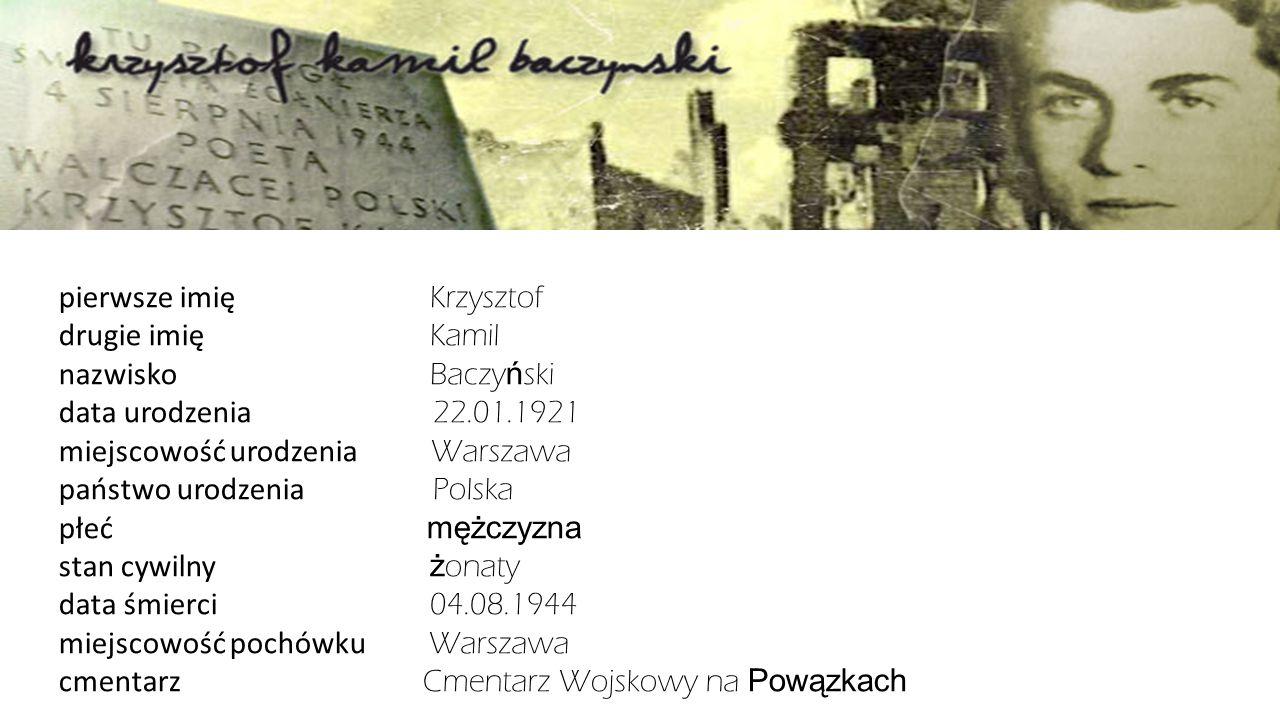 pierwsze imię Krzysztof drugie imię Kamil nazwisko Baczy ń ski data urodzenia 22.01.1921 miejscowość urodzenia Warszawa państwo urodzenia Polska płeć