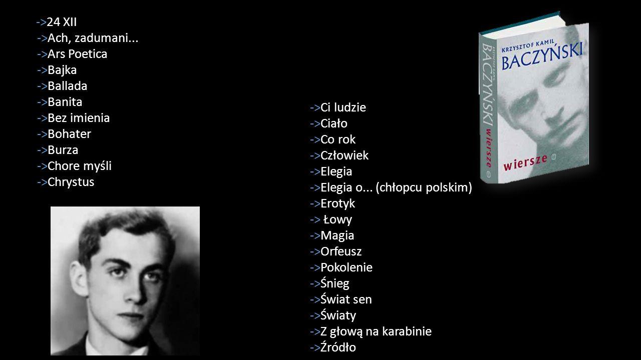 ->24 XII ->Ach, zadumani... ->Ars Poetica ->Bajka ->Ballada ->Banita ->Bez imienia ->Bohater ->Burza ->Chore myśli ->Chrystus ->Ci ludzie ->Ciało ->Co