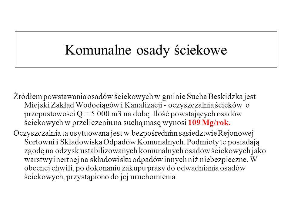 Komunalne osady ściekowe Źródłem powstawania osadów ściekowych w gminie Sucha Beskidzka jest Miejski Zakład Wodociągów i Kanalizacji - oczyszczalnia ścieków o przepustowości Q = 5 000 m3 na dobę.