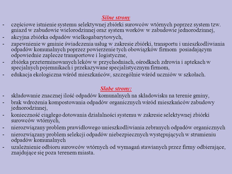 Silne strony -częściowe istnienie systemu selektywnej zbiórki surowców wtórnych poprzez system tzw.