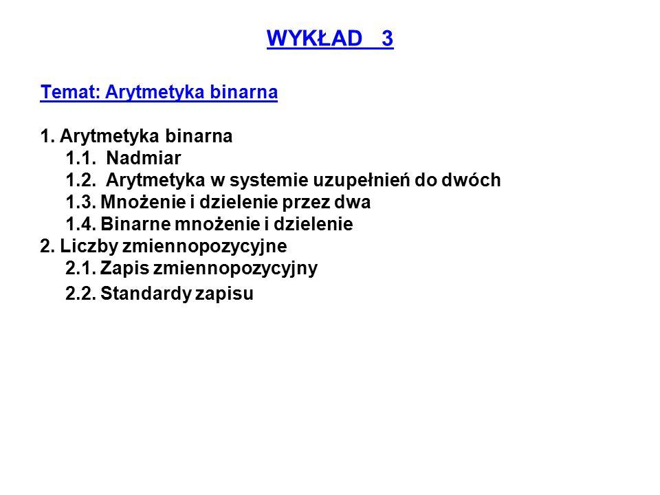 WYKŁAD 3 Temat: Arytmetyka binarna 1. Arytmetyka binarna 1.1. Nadmiar 1.2. Arytmetyka w systemie uzupełnień do dwóch 1.3. Mnożenie i dzielenie przez d