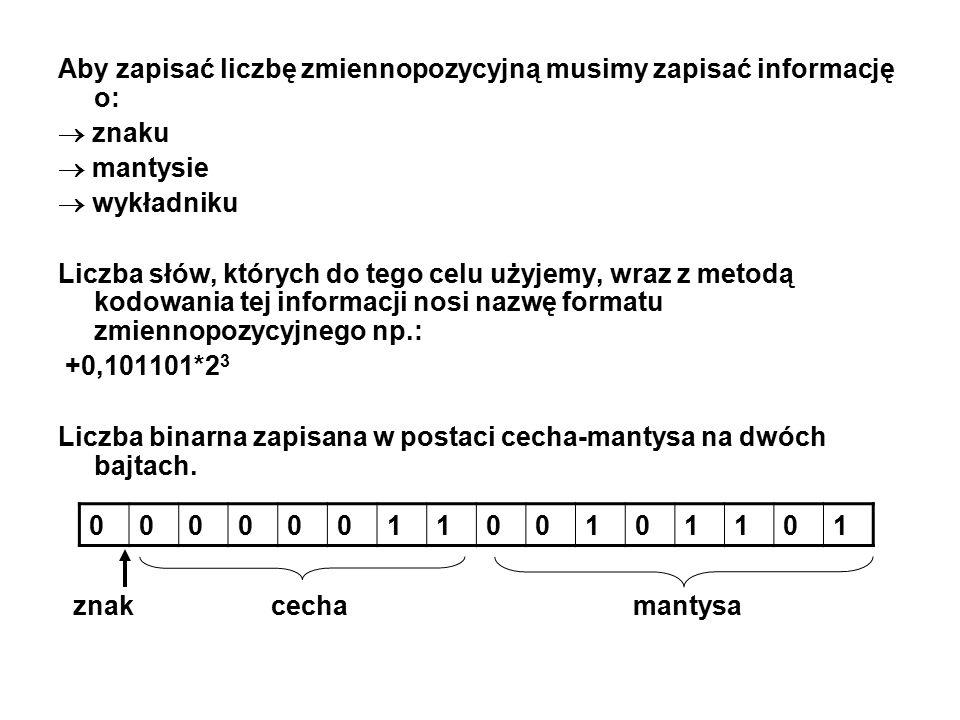 Aby zapisać liczbę zmiennopozycyjną musimy zapisać informację o:  znaku  mantysie  wykładniku Liczba słów, których do tego celu użyjemy, wraz z met