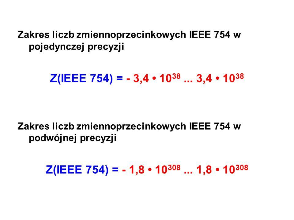 Zakres liczb zmiennoprzecinkowych IEEE 754 w pojedynczej precyzji Z(IEEE 754) = - 3,4 10 38... 3,4 10 38 Zakres liczb zmiennoprzecinkowych IEEE 754 w