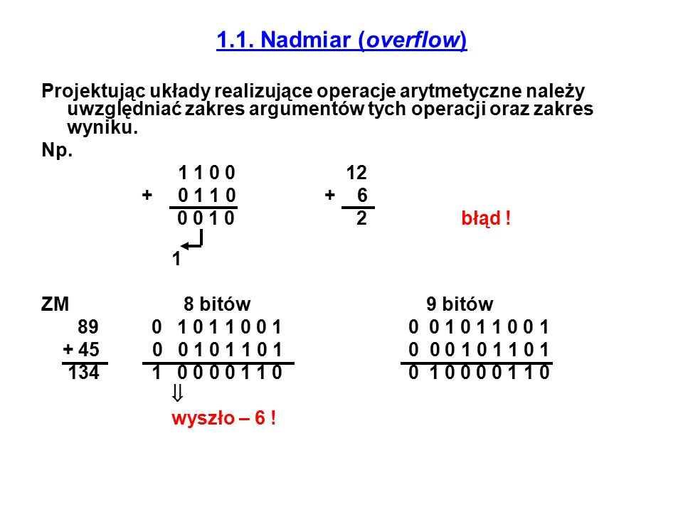 1.1. Nadmiar (overflow) Projektując układy realizujące operacje arytmetyczne należy uwzględniać zakres argumentów tych operacji oraz zakres wyniku. Np