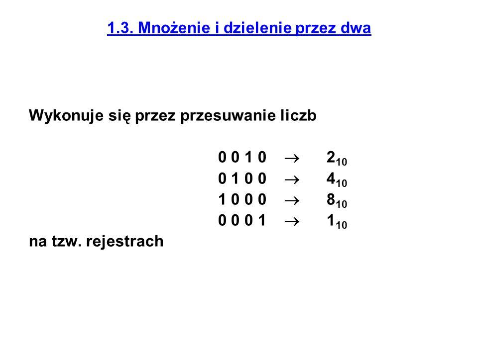 1.3. Mnożenie i dzielenie przez dwa Wykonuje się przez przesuwanie liczb 0 0 1 0  2 10 0 1 0 0  4 10 1 0 0 0  8 10 0 0 0 1  1 10 na tzw. rejestrac
