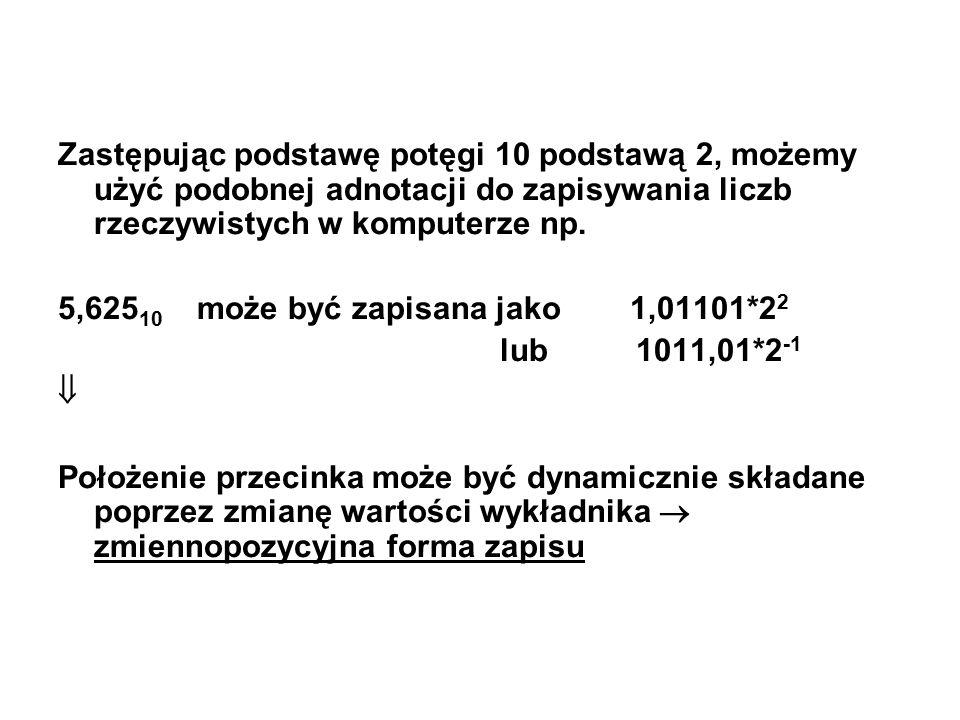 Zastępując podstawę potęgi 10 podstawą 2, możemy użyć podobnej adnotacji do zapisywania liczb rzeczywistych w komputerze np. 5,625 10 może być zapisan