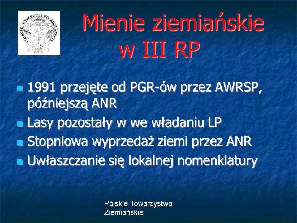 Polskie Towarzystwo Ziemiańskie Mienie ziemiańskie w III RP Mienie ziemiańskie w III RP 1991 przejęte od PGR-ów przez AWRSP, późniejszą ANR 1991 przej