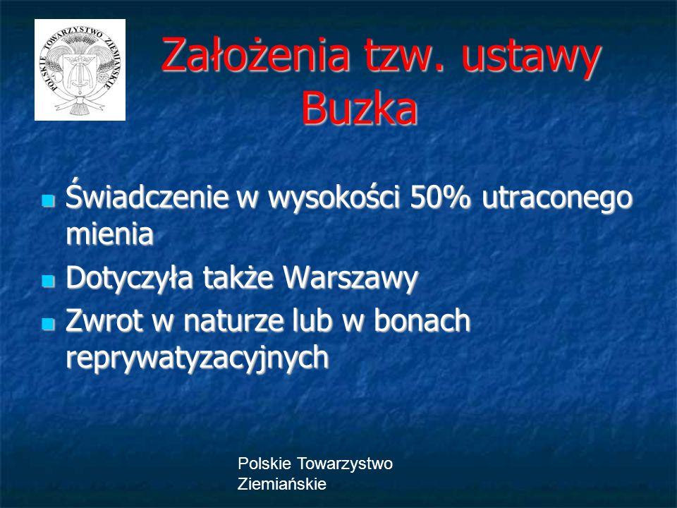 Polskie Towarzystwo Ziemiańskie Założenia tzw. ustawy Buzka Założenia tzw. ustawy Buzka Świadczenie w wysokości 50% utraconego mienia Świadczenie w wy