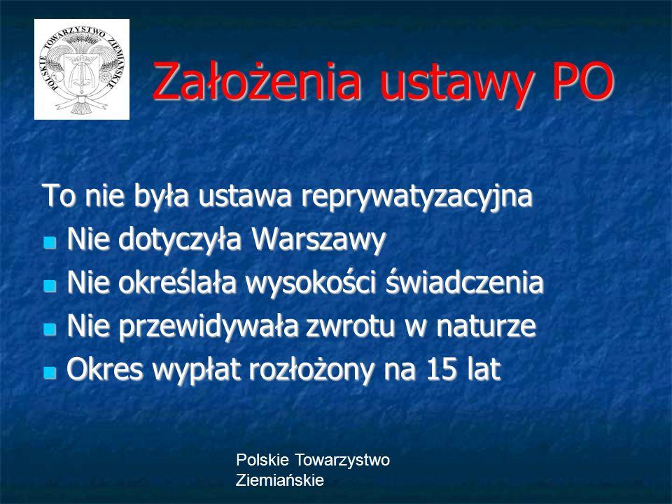 Polskie Towarzystwo Ziemiańskie Założenia ustawy PO Założenia ustawy PO To nie była ustawa reprywatyzacyjna Nie dotyczyła Warszawy Nie dotyczyła Warsz