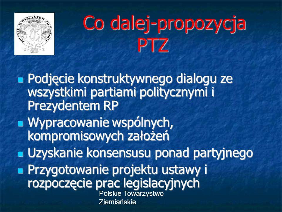 Polskie Towarzystwo Ziemiańskie Co dalej-propozycja PTZ Co dalej-propozycja PTZ Podjęcie konstruktywnego dialogu ze wszystkimi partiami politycznymi i