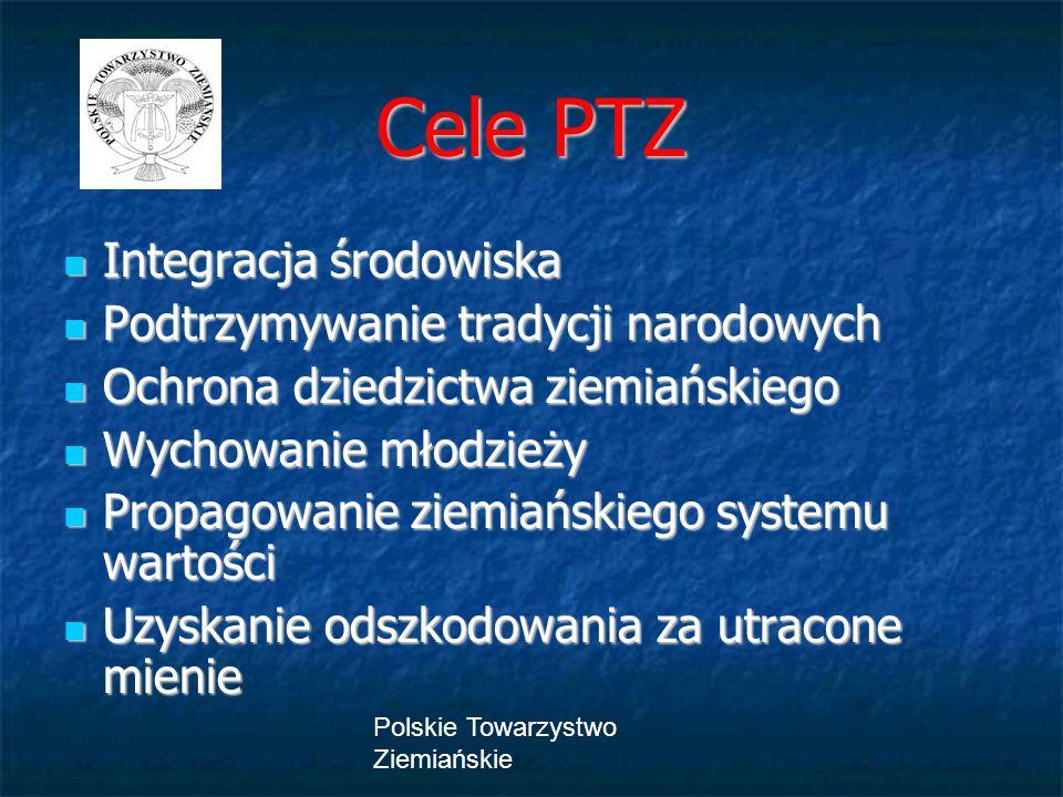 Polskie Towarzystwo Ziemiańskie Integracja środowiska Integracja środowiska Podtrzymywanie tradycji narodowych Podtrzymywanie tradycji narodowych Ochr