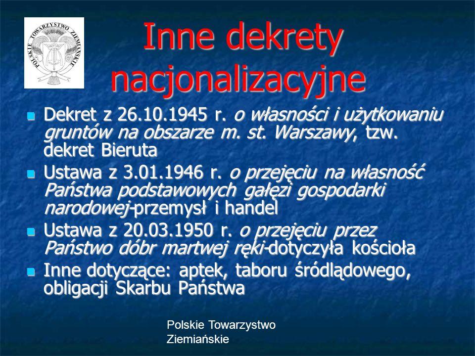 Polskie Towarzystwo Ziemiańskie Inne dekrety nacjonalizacyjne Inne dekrety nacjonalizacyjne Dekret z 26.10.1945 r. o własności i użytkowaniu gruntów n