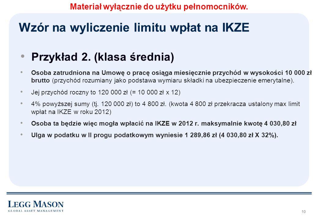 10 Przykład 2. (klasa średnia) Osoba zatrudniona na Umowę o pracę osiąga miesięcznie przychód w wysokości 10 000 zł brutto (przychód rozumiany jako po