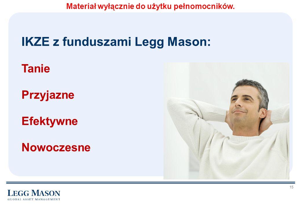 15 IKZE z funduszami Legg Mason: Tanie Przyjazne Efektywne Nowoczesne Materiał wyłącznie do użytku pełnomocników.