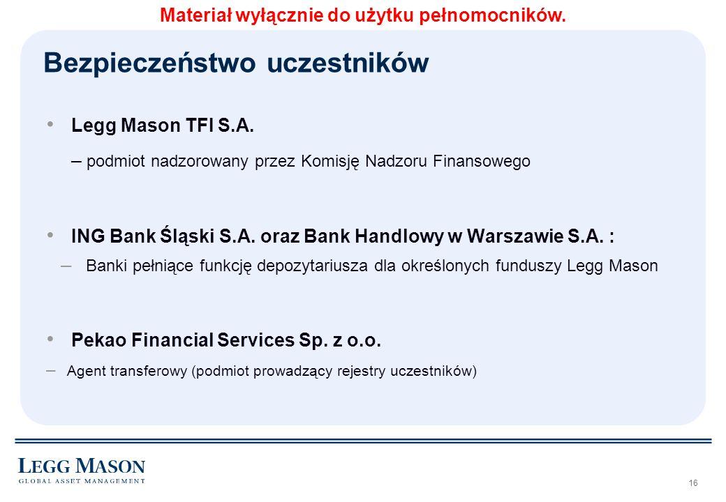 16 Legg Mason TFI S.A. – podmiot nadzorowany przez Komisję Nadzoru Finansowego ING Bank Śląski S.A. oraz Bank Handlowy w Warszawie S.A. : – Banki pełn