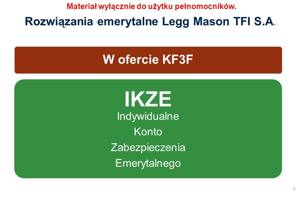 2 W ofercie KF3F IKZE Indywidualne Konto Zabezpieczenia Emerytalnego Rozwiązania emerytalne Legg Mason TFI S.A. Materiał wyłącznie do użytku pełnomocn