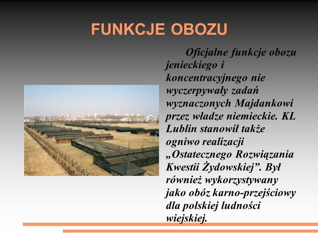 FUNKCJE OBOZU Oficjalne funkcje obozu jenieckiego i koncentracyjnego nie wyczerpywały zadań wyznaczonych Majdankowi przez władze niemieckie. KL Lublin