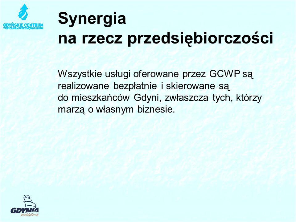 Synergia na rzecz przedsiębiorczości Wszystkie usługi oferowane przez GCWP są realizowane bezpłatnie i skierowane są do mieszkańców Gdyni, zwłaszcza tych, którzy marzą o własnym biznesie.