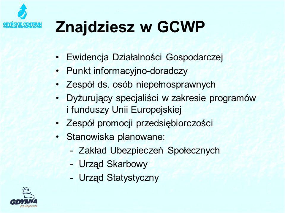 Znajdziesz w GCWP Ewidencja Działalności Gospodarczej Punkt informacyjno-doradczy Zespół ds.