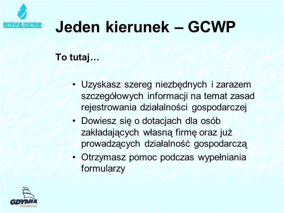 Jeden kierunek – GCWP To tutaj… Uzyskasz szereg niezbędnych i zarazem szczegółowych informacji na temat zasad rejestrowania działalności gospodarczej Dowiesz się o dotacjach dla osób zakładających własną firmę oraz już prowadzących działalność gospodarczą Otrzymasz pomoc podczas wypełniania formularzy