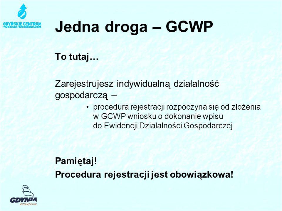 Jedna droga – GCWP To tutaj… Zarejestrujesz indywidualną działalność gospodarczą – procedura rejestracji rozpoczyna się od złożenia w GCWP wniosku o dokonanie wpisu do Ewidencji Działalności Gospodarczej Pamiętaj.