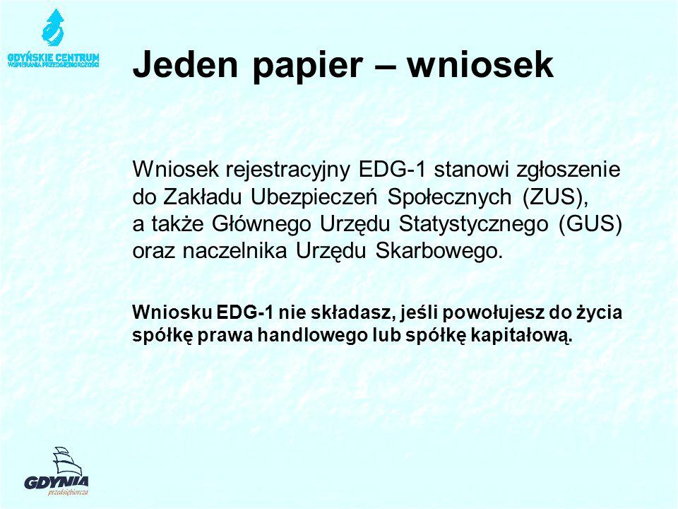 Jeden papier – wniosek Wniosek rejestracyjny EDG-1 stanowi zgłoszenie do Zakładu Ubezpieczeń Społecznych (ZUS), a także Głównego Urzędu Statystycznego (GUS) oraz naczelnika Urzędu Skarbowego.