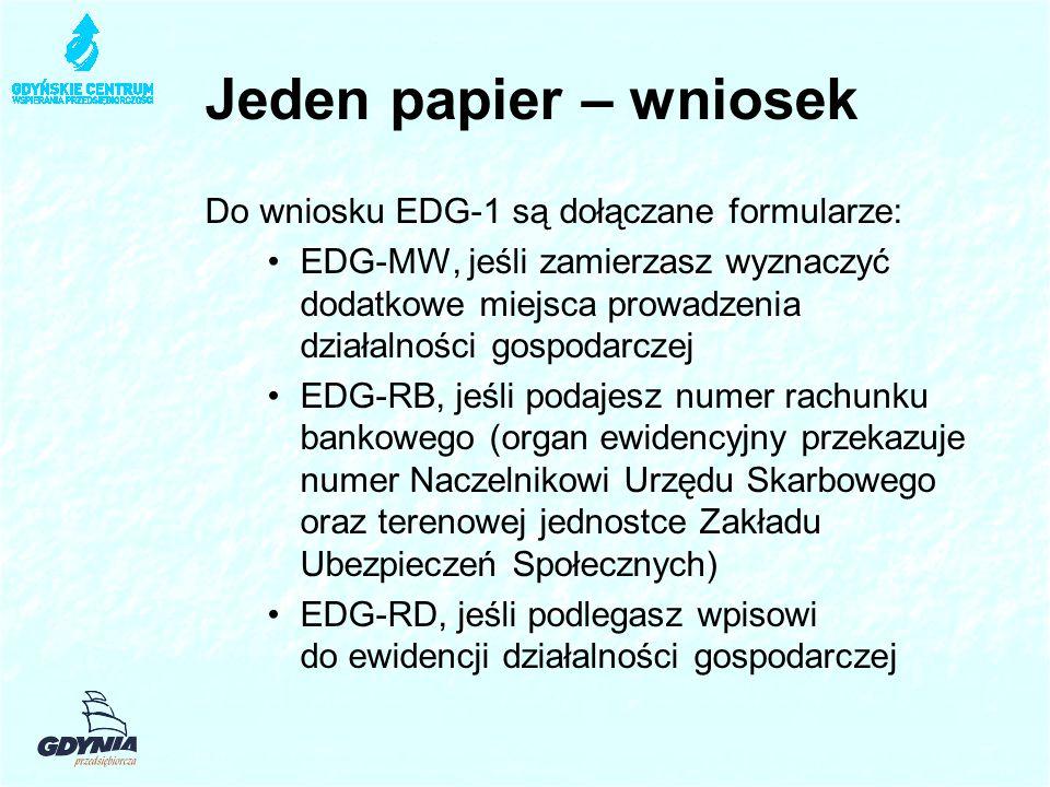 Jeden papier – wniosek Do wniosku EDG-1 są dołączane formularze: EDG-MW, jeśli zamierzasz wyznaczyć dodatkowe miejsca prowadzenia działalności gospodarczej EDG-RB, jeśli podajesz numer rachunku bankowego (organ ewidencyjny przekazuje numer Naczelnikowi Urzędu Skarbowego oraz terenowej jednostce Zakładu Ubezpieczeń Społecznych) EDG-RD, jeśli podlegasz wpisowi do ewidencji działalności gospodarczej