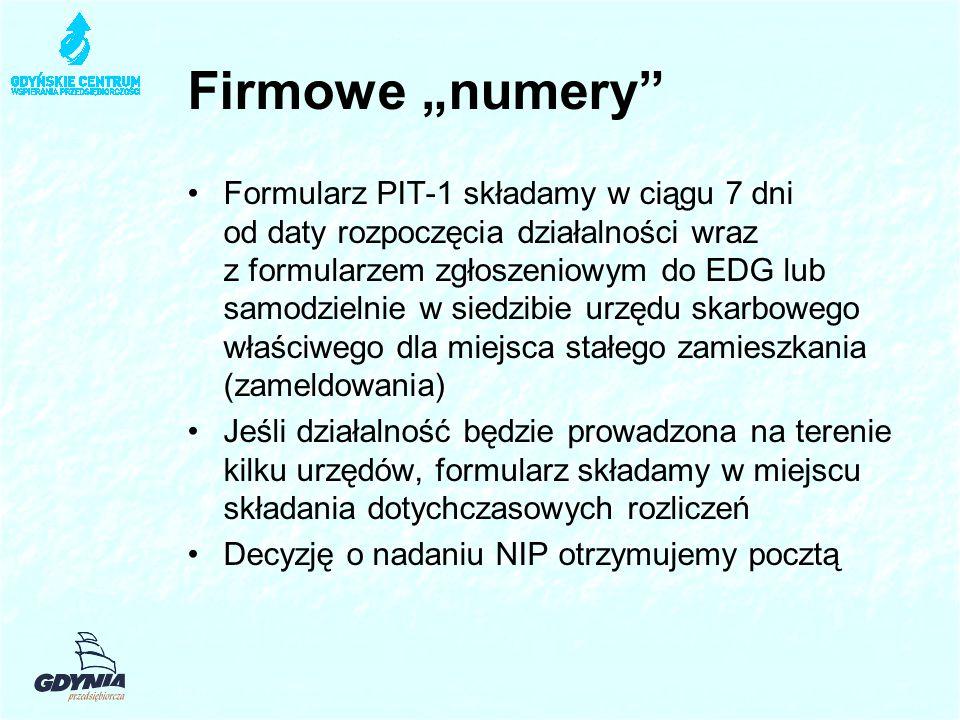 """Firmowe """"numery Formularz PIT-1 składamy w ciągu 7 dni od daty rozpoczęcia działalności wraz z formularzem zgłoszeniowym do EDG lub samodzielnie w siedzibie urzędu skarbowego właściwego dla miejsca stałego zamieszkania (zameldowania) Jeśli działalność będzie prowadzona na terenie kilku urzędów, formularz składamy w miejscu składania dotychczasowych rozliczeń Decyzję o nadaniu NIP otrzymujemy pocztą"""