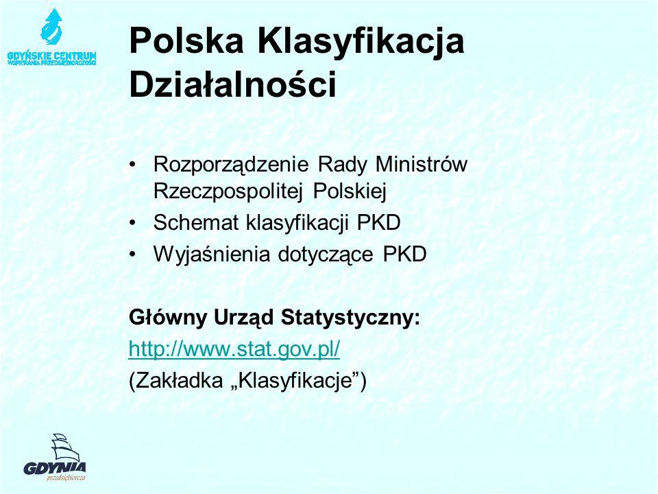 """Polska Klasyfikacja Działalności Rozporządzenie Rady Ministrów Rzeczpospolitej Polskiej Schemat klasyfikacji PKD Wyjaśnienia dotyczące PKD Główny Urząd Statystyczny: http://www.stat.gov.pl/ (Zakładka """"Klasyfikacje )"""