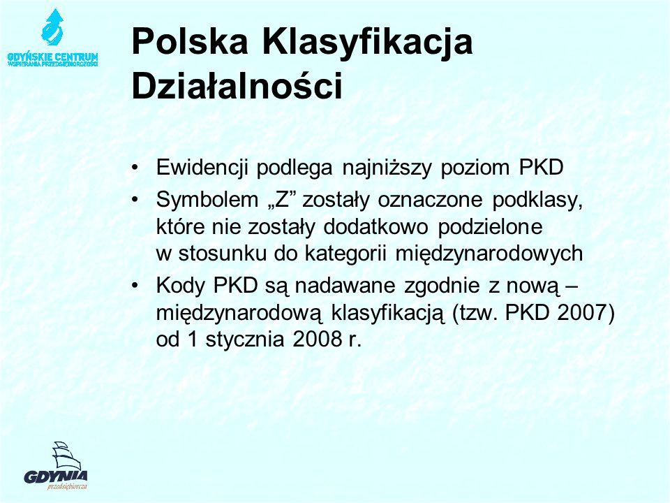 """Polska Klasyfikacja Działalności Ewidencji podlega najniższy poziom PKD Symbolem """"Z zostały oznaczone podklasy, które nie zostały dodatkowo podzielone w stosunku do kategorii międzynarodowych Kody PKD są nadawane zgodnie z nową – międzynarodową klasyfikacją (tzw."""